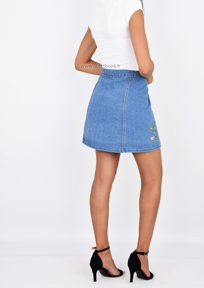 Embroidered Denim Skirt - OUTFITBOOK 411378bdf97c
