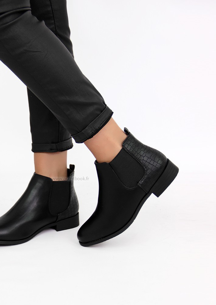 Bottines Chelsea Effet Croco Outfitbook