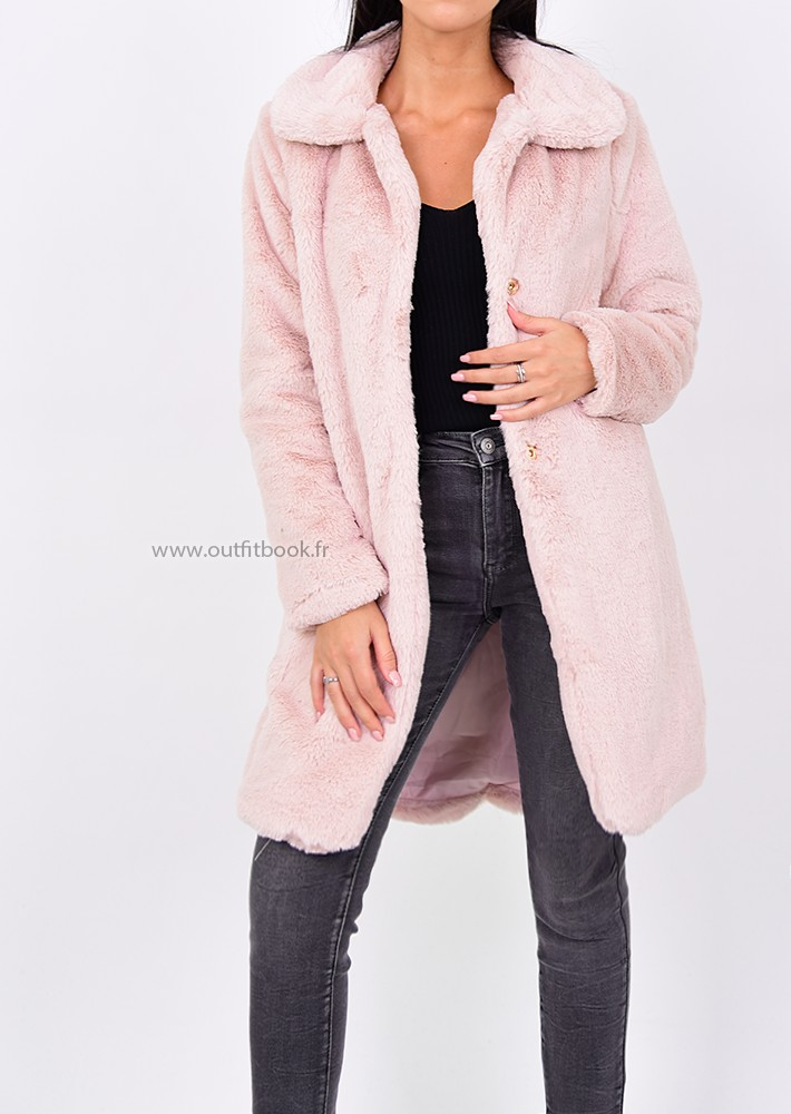 manteau rose p le en fausse fourrure outfitbook. Black Bedroom Furniture Sets. Home Design Ideas