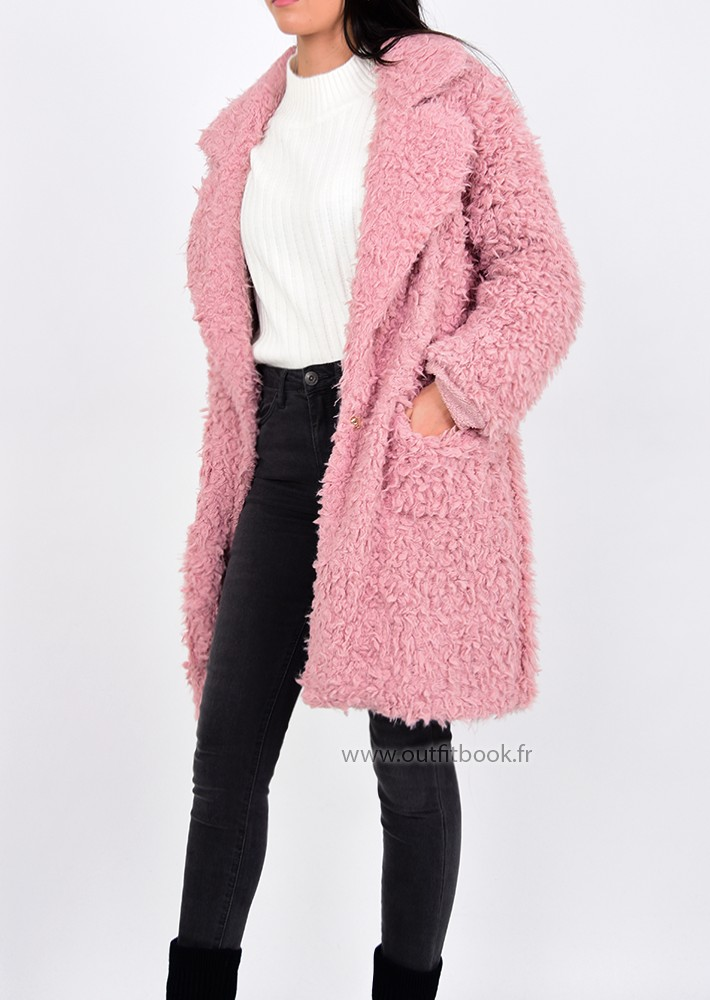 manteau rose en fausse fourrure outfitbook. Black Bedroom Furniture Sets. Home Design Ideas