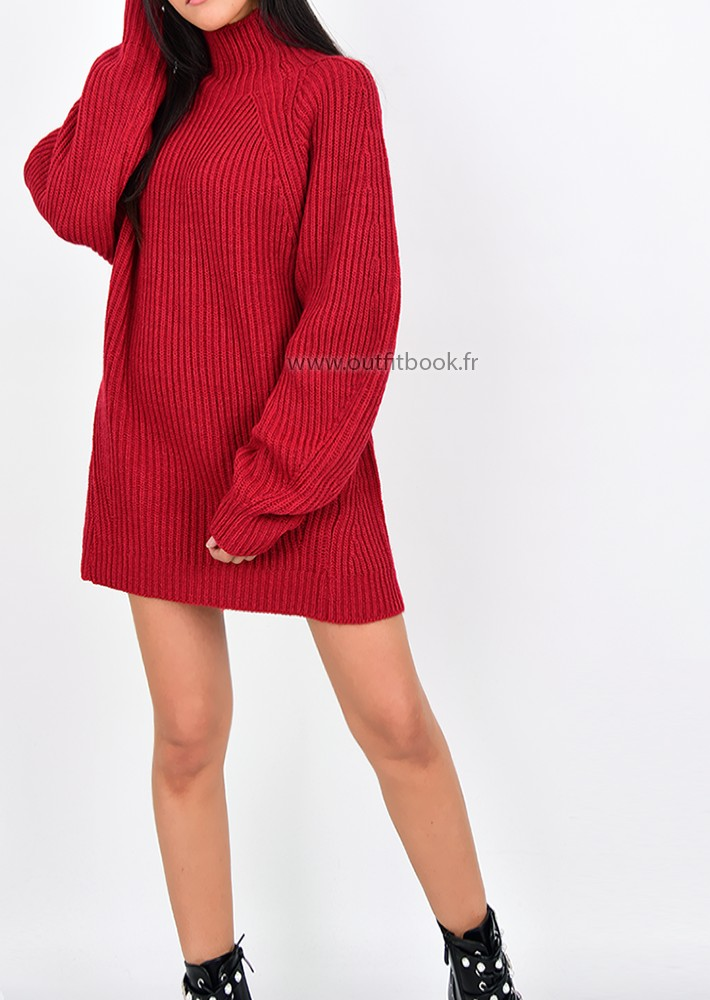 f28a19efdcfd Robe pull en maille côtelée rouge à col montant - OUTFITBOOK