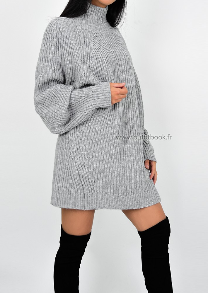 188f6027231 Robe pull en maille côtelée gris à col montant - OUTFITBOOK