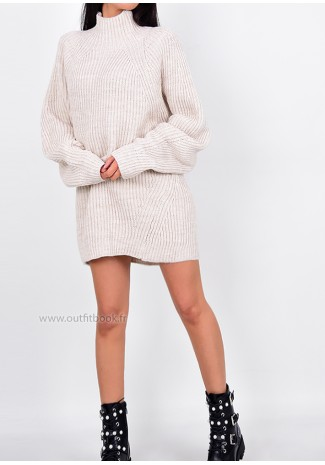 ff2c6d2baf6 Beige High Neck Knitted Jumper Dress - OUTFITBOOK