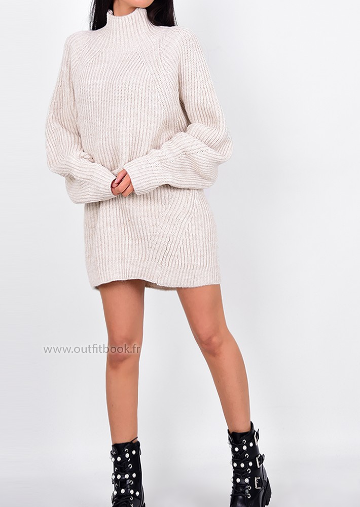 308b60c9f5a ... High Neck Knitted Jumper Dress. Pull en maille côtelée beige à col  montant ...