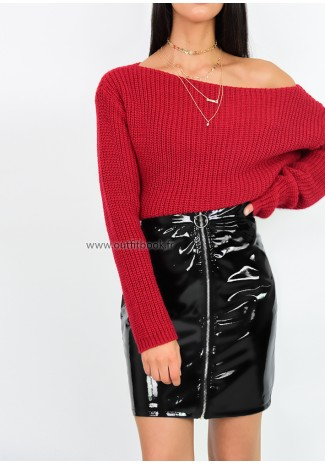 Pull en maille col bateau rouge