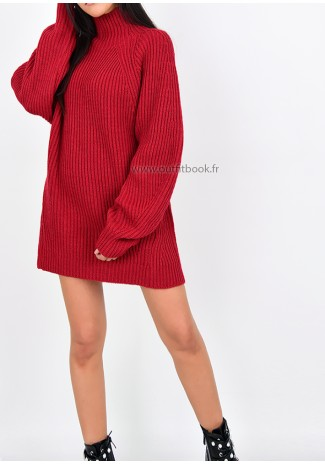 Robe pull en maille côtelée rouge à col montant Tall