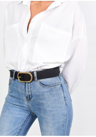 Gold Oval Buckle Belt