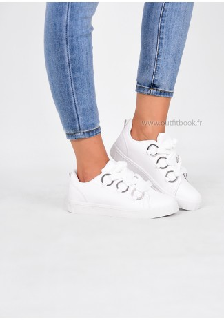White Trainers With Silver Ring Detail