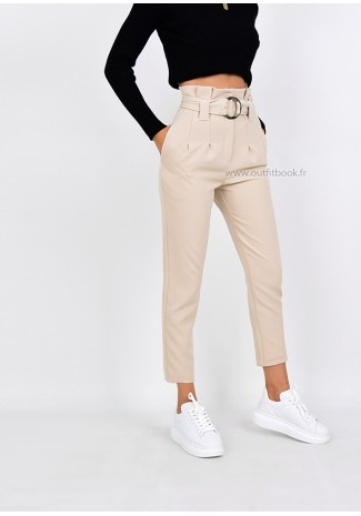 Beige High Waisted Ring Tie Belt Trousers