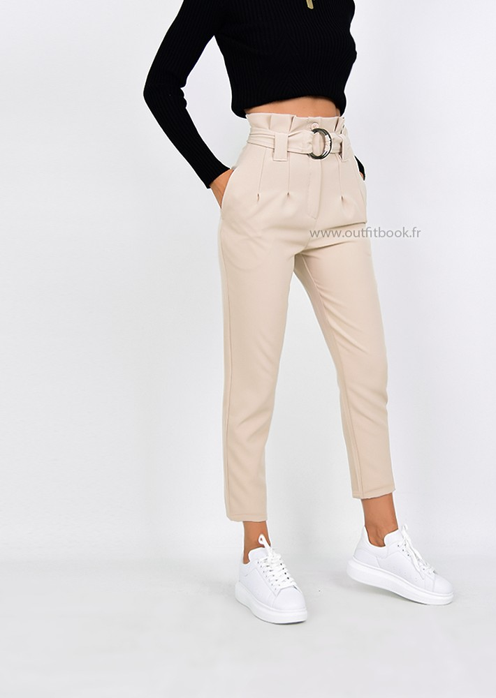 Beige High Waisted Ring Tie Belt Trousers Outfitbook