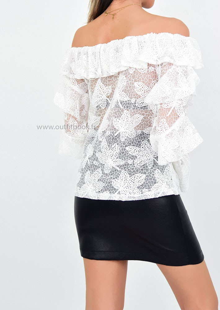 34fd1ea17357a White Lace Bardot Top - OUTFITBOOK