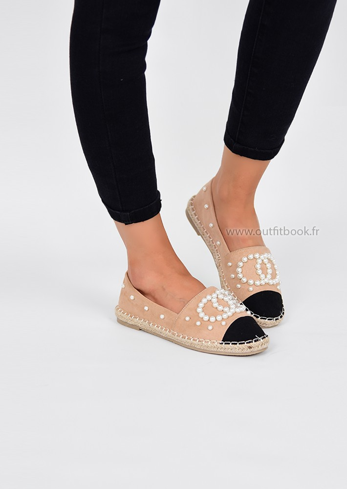 uk cheap sale exclusive deals free shipping Beige Espadrille With Pearls