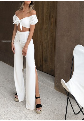 White Top & Trousers Set
