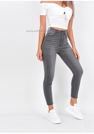 11151b25f41363 Grey Skinny Jeans With Back Zip Detail ...