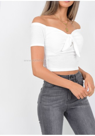 b18193f3c8 White Ribbed Knot Front Crop Top ...