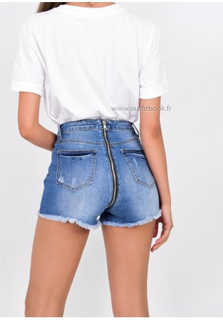 Denim Shorts With Back Zip Detail