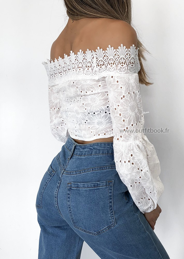 ff62c325b6659 White Bardot Crochet Lace Up Crop Top - OUTFITBOOK