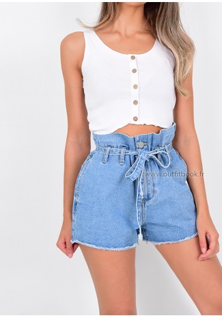 Denim Belted Paperbag Frayed Hem Shorts
