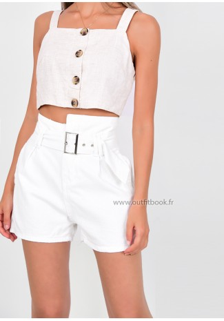 White Denim Belted Shorts