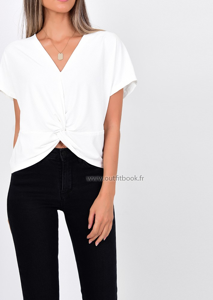 white knot detail top  outfitbook