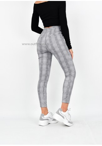 High Waist Checked Trousers