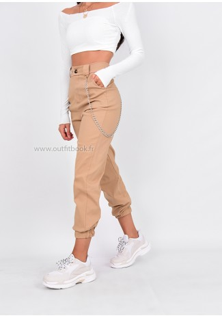 beige cargo trousers with chain detail outfitbook. Black Bedroom Furniture Sets. Home Design Ideas