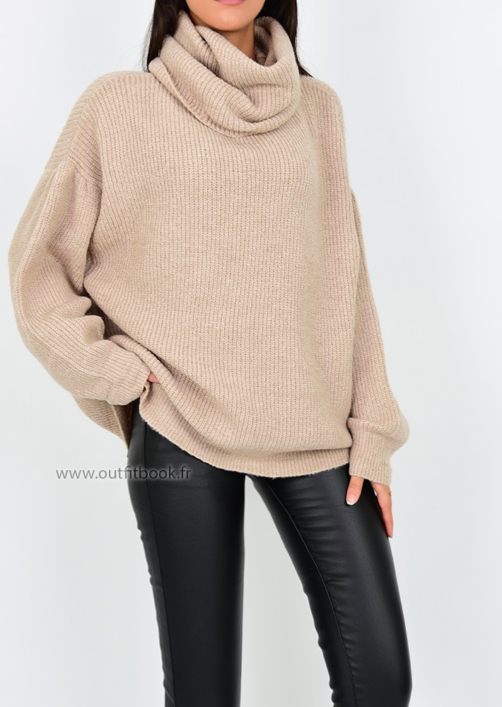 tout neuf 804a7 700a4 Pull oversize taupe à col roulé