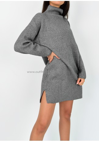 High neck jumper dress in grey
