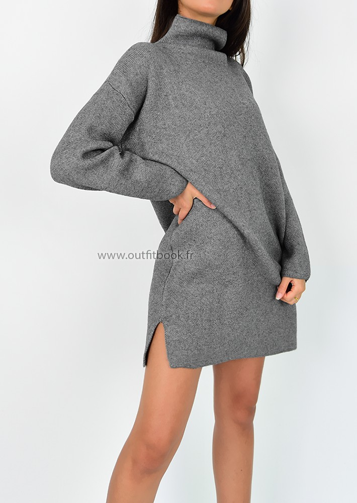 0efcd7baef0 Robe pull avec col montant gris - OUTFITBOOK