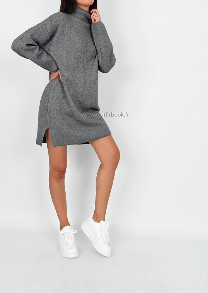 Robe pull avec col montant gris