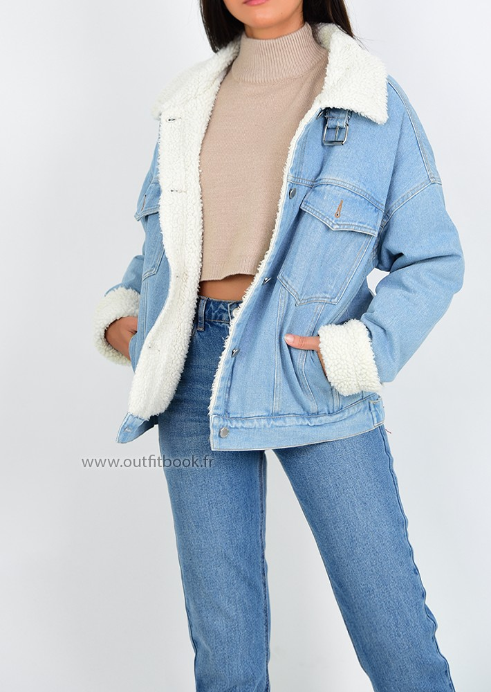 borg lined denim jacket  outfitbook
