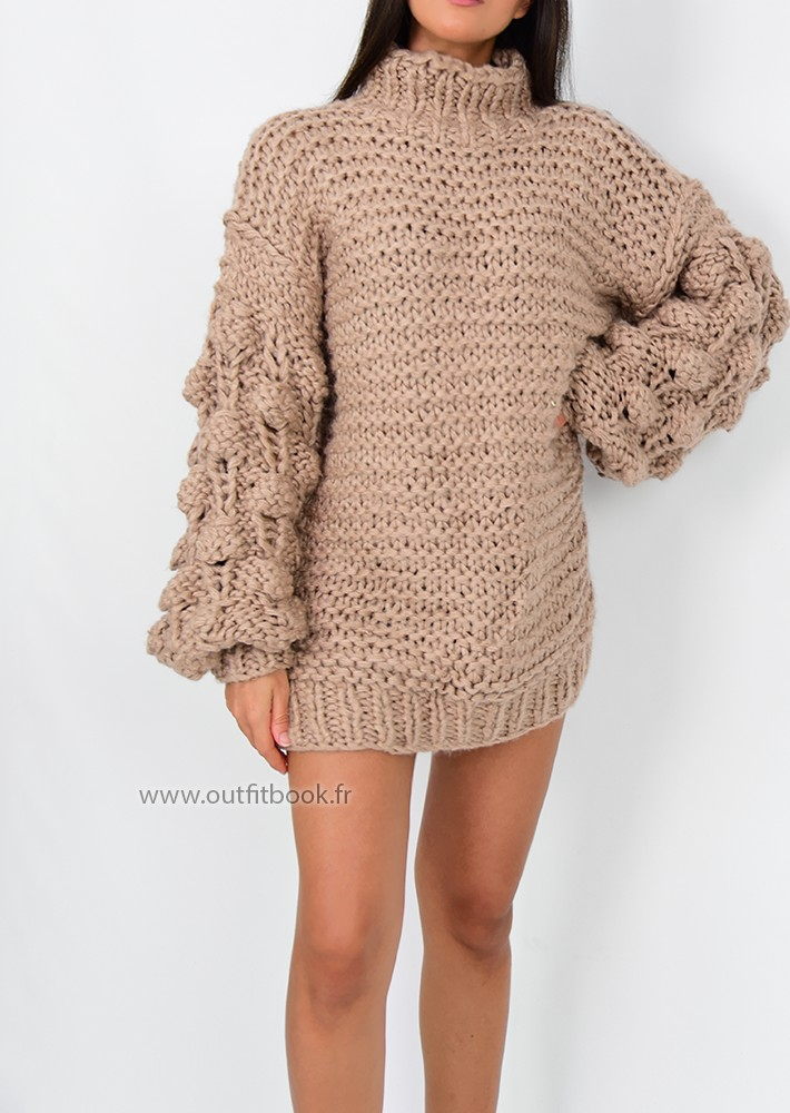 b948f17e6b0 ... knitted jumper dress. Robe pull taupe tricotée main ...