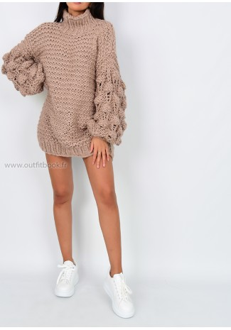 Robe pull taupe tricotée main