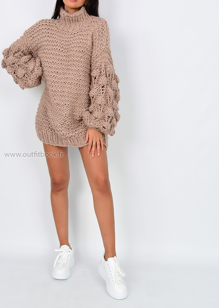 9aa0c6f0695 ... knitted jumper dress. Robe pull taupe tricotée main · Robe pull taupe  tricotée main ...