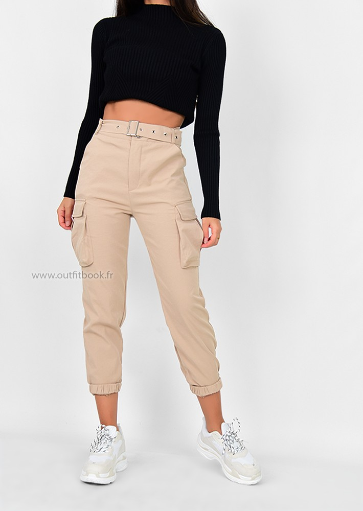 Pantalon cargo beige avec poches , OUTFITBOOK