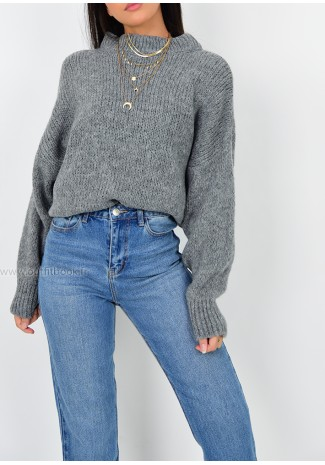 Pull col rond en maille gris