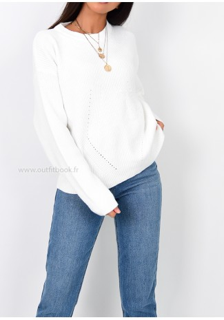 ded575db93 Pull oversize en maille blanc Pull oversize en maille blanc