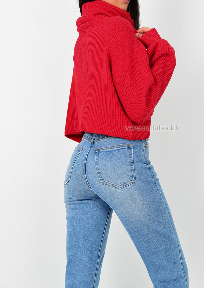 08f3949be7ff Pull col roulé rouge en maille côtelée - OUTFITBOOK