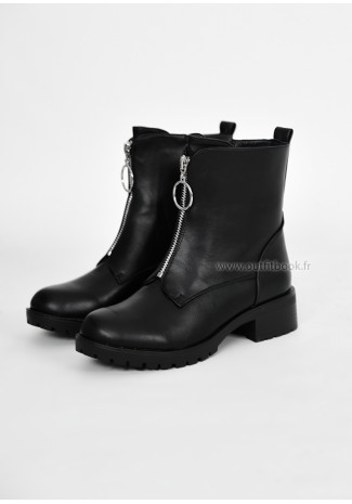 Bottines plates avec zip devant