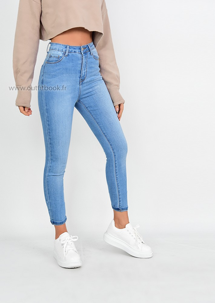 41353457ea31 Jean skinny taille haute bleu clair - OUTFITBOOK
