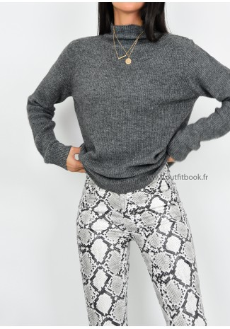9949be430ae3b Pull gris en maille avec col montant ...