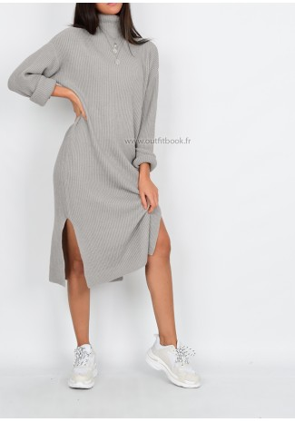 Tall - Knit ribbed jumper dress in grey