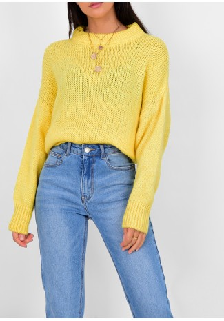 Pull col rond en maille jaune