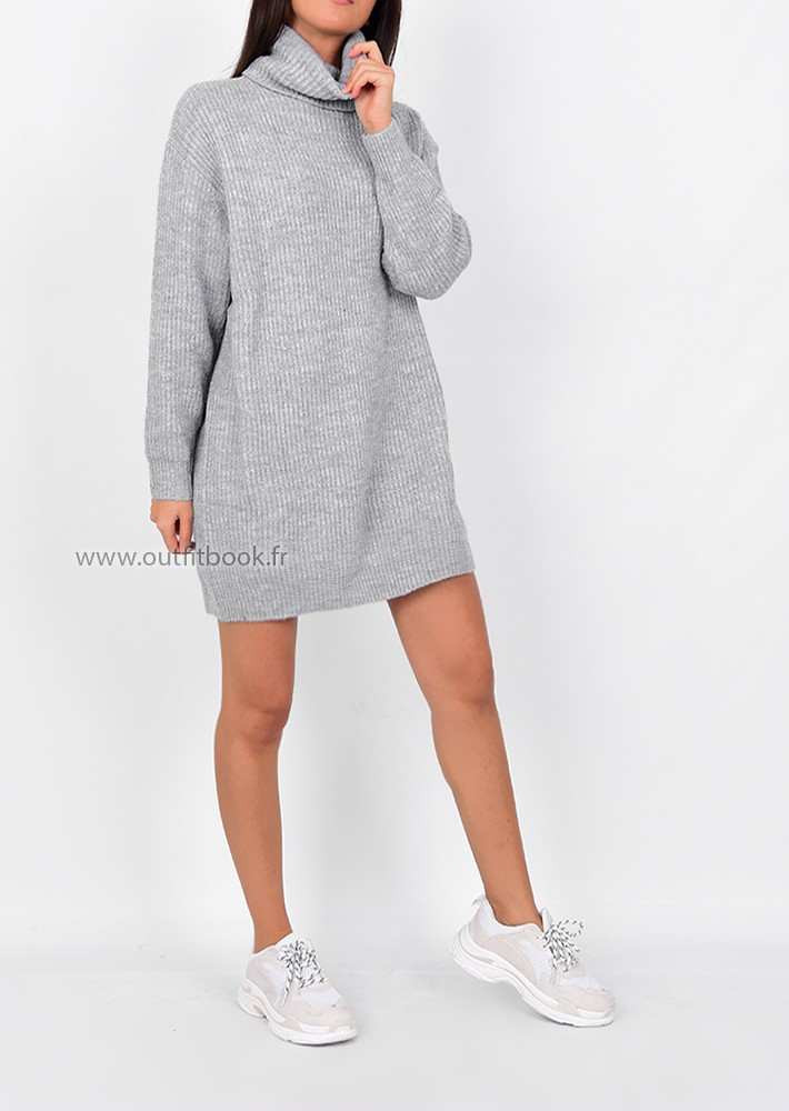 Robe pull avec col roulé grise , OUTFITBOOK