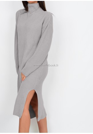Petite - Knit ribbed jumper dress in grey