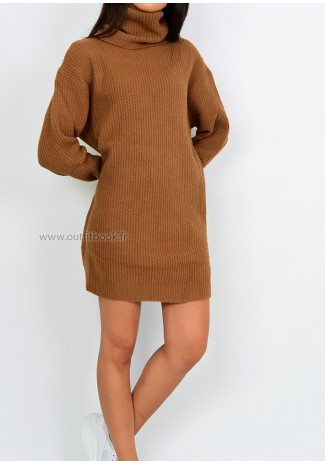 Robe pull avec col roulé camel