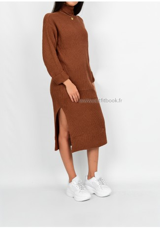 Petite - Knitted jumper dress in camel