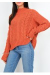 Cable Knit Jumper In Orange