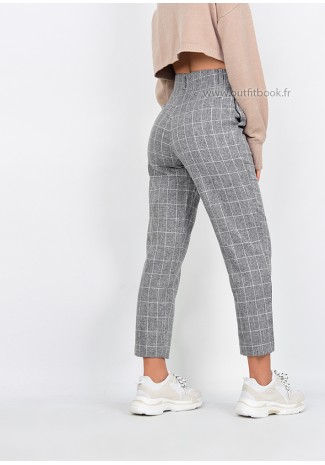 Pantalon gris à carreaux