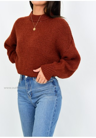 Pull col rond en maille camel